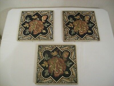 ** Three Antique Victorian Gothic Influence Fireplace Tiles **