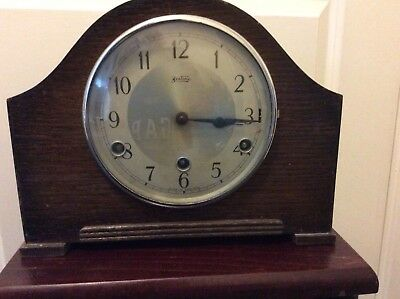 BEAUTIFUL BENTIMA  Westminster Chime WOODEN MANTLE CLOCK spares/repairs