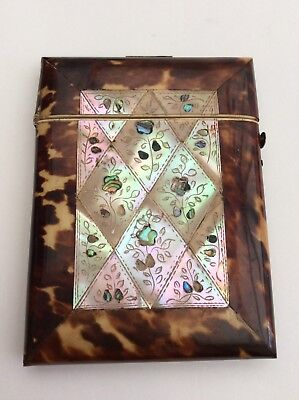 VERY FINE VICTORIAN M.O.P & FAUX TORTOISESHELL CARD CASE For Restoration