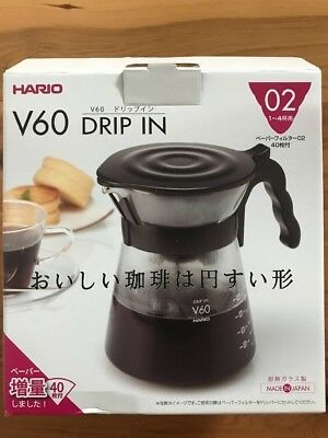 Hario V60 Vdi-02 1-4 Cup Drip In Coffee Pot With Drip Filter 700Ml + 40 Filters