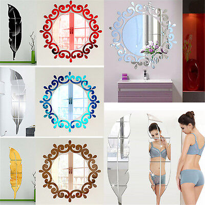 Feather Mirror Glass Tile Wall Stickers Decal Mosaic Room Decor Stick On New Fad