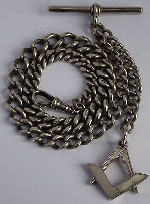 Victorian solid sterling silver pocket watch albert chain & Masonic fob, 1899