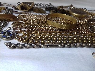 ANTIQUE BELCHER CHAINS. BANGLES JOB LOT ALBERTS. DOG CLIPS & COLLECTIBLES 580g
