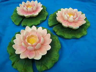 Pink Pond Lilies On Green Leaf Pad Pond Or Swimming Pool Floaters Set Of 3 New