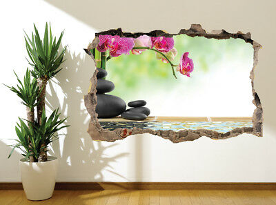 Bamboo Floral Zen basalt stones flower photo wall sticker wall mural (10099158)