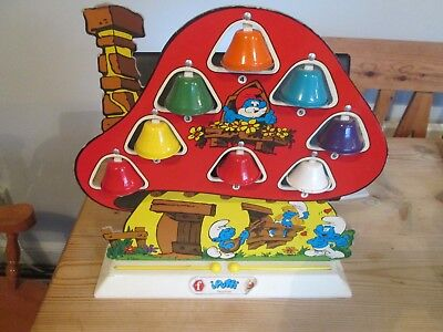 smurf house shaped bell zylophone with two playing hammers