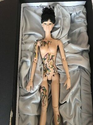 "FICON 16"" TATTOO ORIENTAL DOLL NUDE WITH BOX AND WIG. OOAK REPAINT With COA"