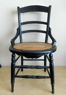 Antique 19th Century New Orleans Black Painted Wood Chair w/ Cane Seat