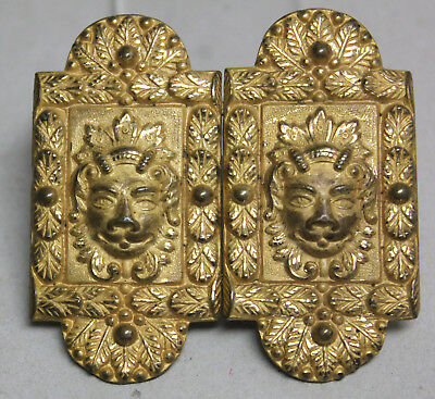 RARE Antique Old 19th Century Gilt Metal BUCKLE Lion Heads/ The Martin' Patented