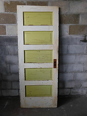 Antique Victorian Interior Five Panel Door - C. 1900 Fir Architectural Salvage