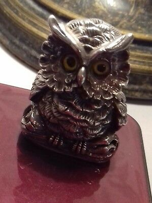 Vintage Solid Silver Owl with Glass Eyes