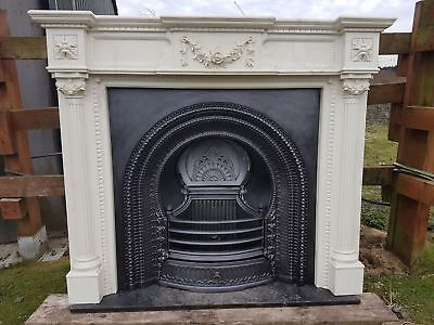 118 Cast Iron Fireplace Fire Arch Arched Antique Victorian Style Surround Marble