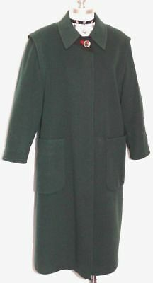 GREEN WOOL COAT Women GERMAN Winter WARM Hunting Career Dress LONG Over 14 L B42