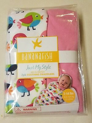 New BANANAFISH 2 pk Soothing Swaddlers 7-14 LB - Pink and Multi Color Chicks