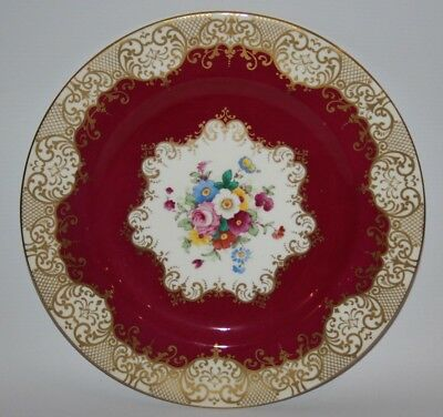 """Crown Staffordshire - A14241, Maroon & Gold - 10 1/2"""" Dinner Plate"""