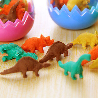 8X Dinosaurs Egg Pencil Rubber Eraser Students Office Stationery Kid Toy 、New