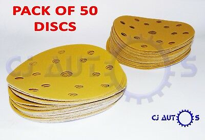 GOLD SANDING PAPER DISCS 6 Inch 150mm DA SANDER ABRASIVE 15 HOLE HOOK LOOP GRIP