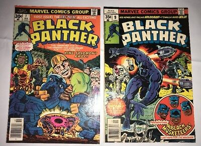 Lot Of 2 Vintage Marvel Comics Black Panther #1 & #9 Mid Grade 1977