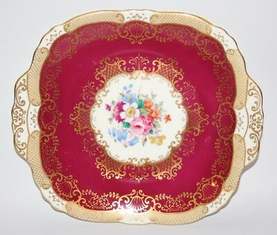 Crown Staffordshire - A15521, Maroon and Gold - Twin Handles Cake Plate