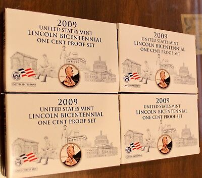 Four (4) Sets of 2009 US Mint Lincoln Bicentennial One Cent Proof Sets