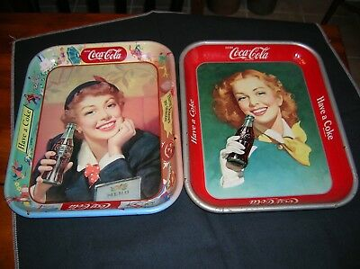 Authentic Vintage Coca Cola Coke Advertising Serving Trays 1950's Lot Of 2
