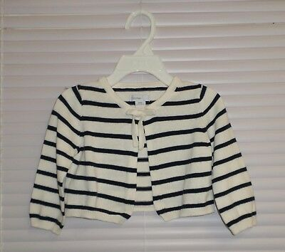 BABY GAP Off-WHITE & NAVY BLUE Striped Cardigan Sweater Size 6-12 Months
