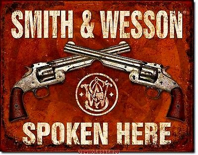 "16"" X 12.5"" Smith & Wesson Spoken Here-Tin Sign-NICE- FREE SHIPPING-MADE IN USA"