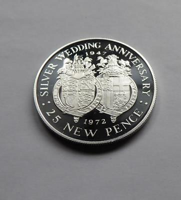 1972 Gibraltar Silver Proof 25 New Pence Queen's Silver Wedding Anniversary
