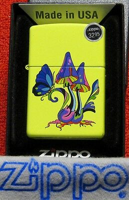 ZIPPO  MUSHROOM BUTTERFLY Lighter  Mint In Box  NEON YELLOW Finish