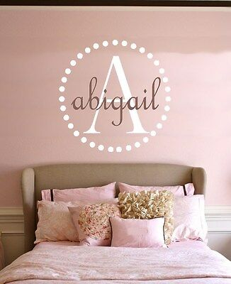 Polka Dots Personalized Name Monogram Circles Vinyl Wall Decal Nursery Art