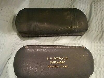 Lot of 2 Vintage Early 1900s Hard Snap Close Eyeglass Cases.