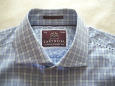 "Mens shirt  M & S Sartorial  15.5"" - Teal blue check  - excellent condition"