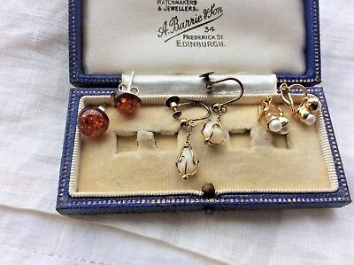 3 assorted pr vintage earrings incl silver freshwater pearl screw on  etc
