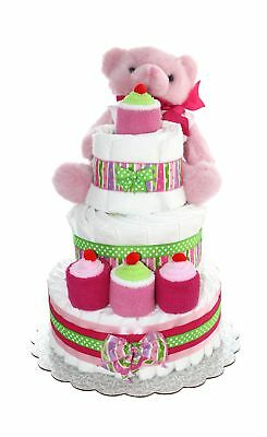 3 Tier Diaper Cake - Pink Teddy Bear Diaper Cake For Girl - Baby Gift For Bab...