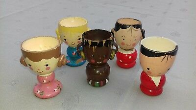 Five vintage Hand Painted Wooden Figural Egg Cups. Shabby Chic