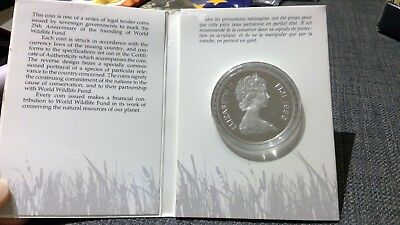 Fiji 10 Dollars Frosch 1986 Silber PP im World Wildlife Fund Blister