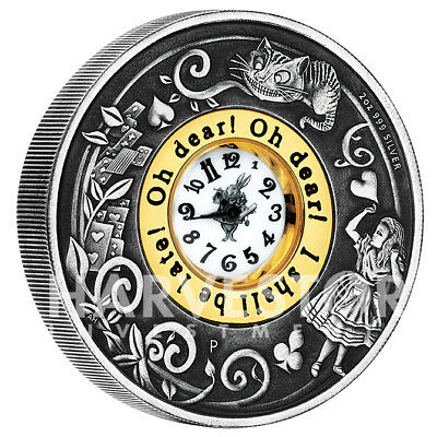 2015 Alice In Wonderland Silver Clock Coin - 2 Oz. Silver Coin With Real Clock