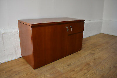 BENE Cherrywood Filing Cabinet Desk Height W/ Computer Cradle 950mm