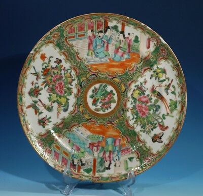 Antique Chinese Handpainted Famille Rose Canton Plate.
