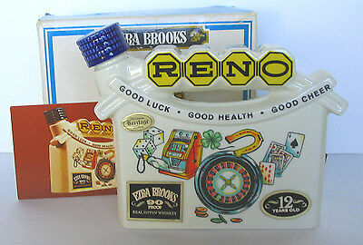 Reno Nevada Arch The Biggest Little City in the World Brooks 1968 Decanter + Box