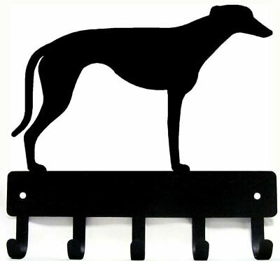 "Greyhound Dog Leash Hanger Metal Wall Key Rack Holder 5 Hooks Sm 6"" Made USA"