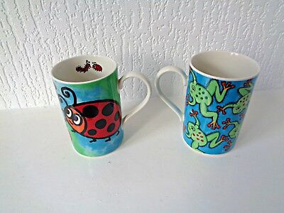 2 mugs Funny Frogs Creepy Crawlies Dunoon Stoneware Scotland Jane Brookshaw