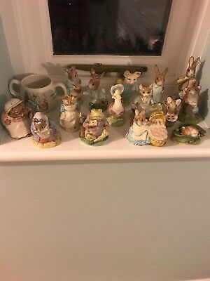 Beatrix Potter Figures - Royal Albert, Beswick and FW&Co Job Lot of 16 items.