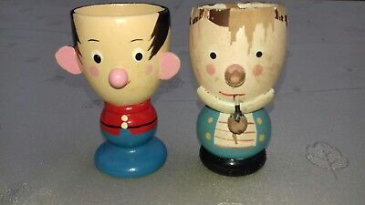 Two Wooden Vintage Egg Cups Hand Painted Wood Made In Italy By Sevi