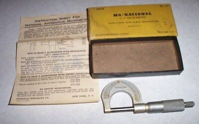 """N Mint, Mg/national 0-1"""" Micrometer No. 102, With Directions & Original Box"""