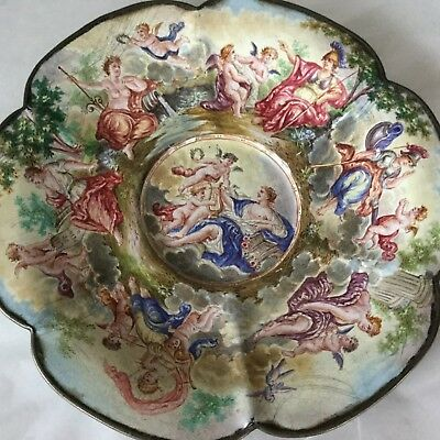 French Enamel With Silver Edging Small Plate  Super Neat Perhaps Austrian