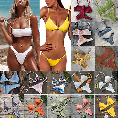 Womens 2pcs Swimwear Padded Bra Thong Bikini Set Push-up Beach Bathing Swimsuit