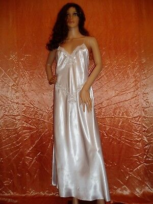 80s white liquid satin nigthdress size 14