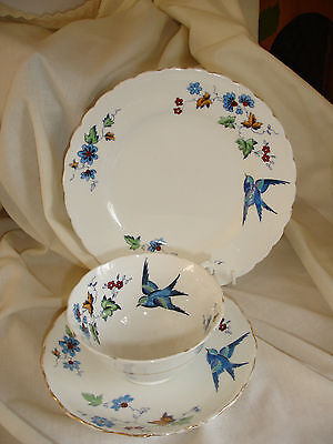 Vintage Tuscan Bone China Trio With Bluebird And Blue Flower Design