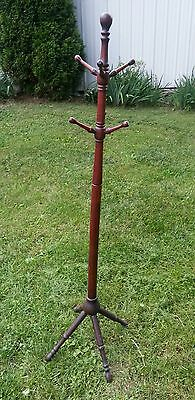 "Vintage Cherry Stained Primitive Hand Made Wood 65"" Tall Coat & Hat Stand Rack"